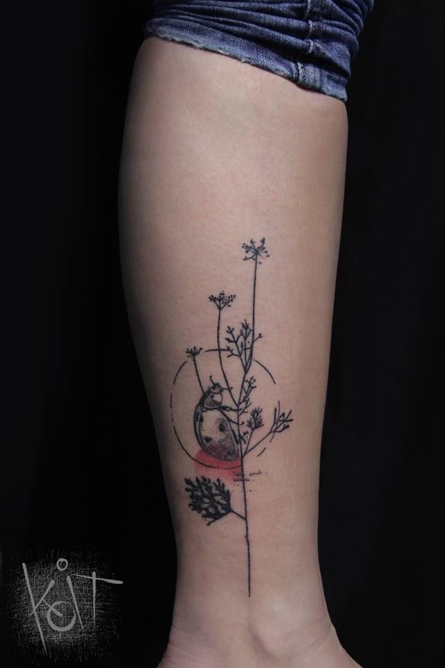 Dainty tattoo #Koit #graphictattoos #ladybugtattoos