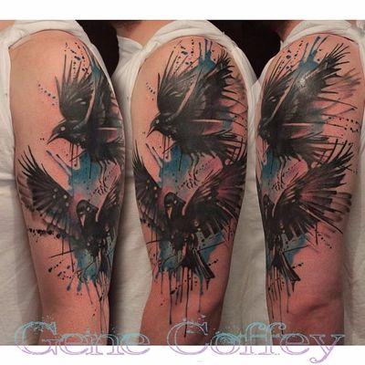 Odins Ravens Tattoo by Gene Coffey #OdinsRavens #Odin #raven #Norse #GeneCoffey