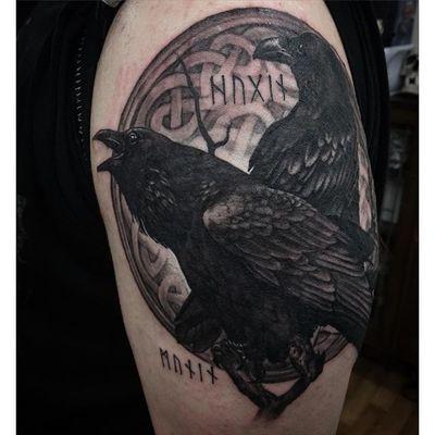 Odins Ravens Tattoo by Steph Finnola Reed #OdinsRavens #Odin #raven #Norse #StephFinnolaReed