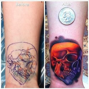 Finally this small cover-up masterpiece from Tattoodo's very own Megan Massacre!