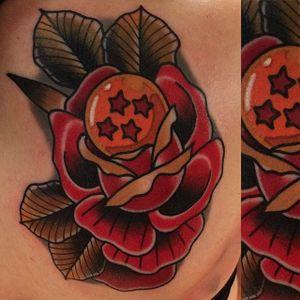 Dragon Ball tattoo by Adam Perjatel. #AdamPerjatel #anime #dragonball #dbz #dragonballz #rose #traditional