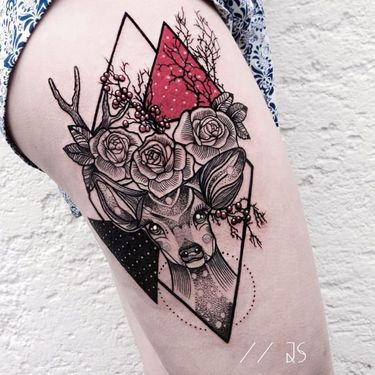 Striking And Bold Geometric Tattoos By Jessica Svartvit