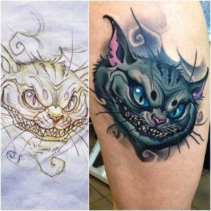 Cheshire Cat tattoo by Turyanskiy. #cheshirecat #aliceinwonderland #alicemadnessreturns