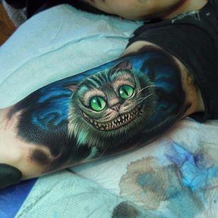 Cheshire cat tattoo done at Bang Bang NYC. #cheshirecat #aliceinwonderland #bangbang