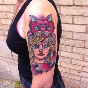 Alice in Wonderland Cheshire cat headdress tattoo by Ashley Newton #cheshirecat #aliceinwonderland #headdress #animalheaddress