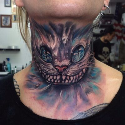 Cheshire cat neck tattoo by Anrijs Straume. #cheshirecat #aliceinwonderland