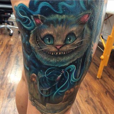Tattoo by Kyle Cotterman. #cheshirecat #aliceinwonderland #KyleCotterman