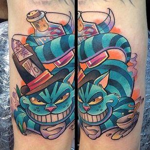Cheshire cat tattoo by Andy Walker. #cheshirecat #aliceinwonderland