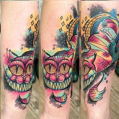 Cheshire cat tattoo by Skizzo Tattoo. #cheshirecat #aliceinwonderland