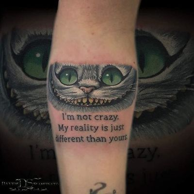 Tattoo by Davide Spampinato. #cheshirecat #aliceinwonderland