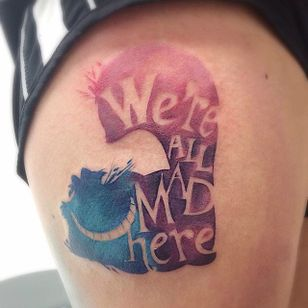 Tattoo by Cybil Souza. #cheshirecat #aliceinwonderland