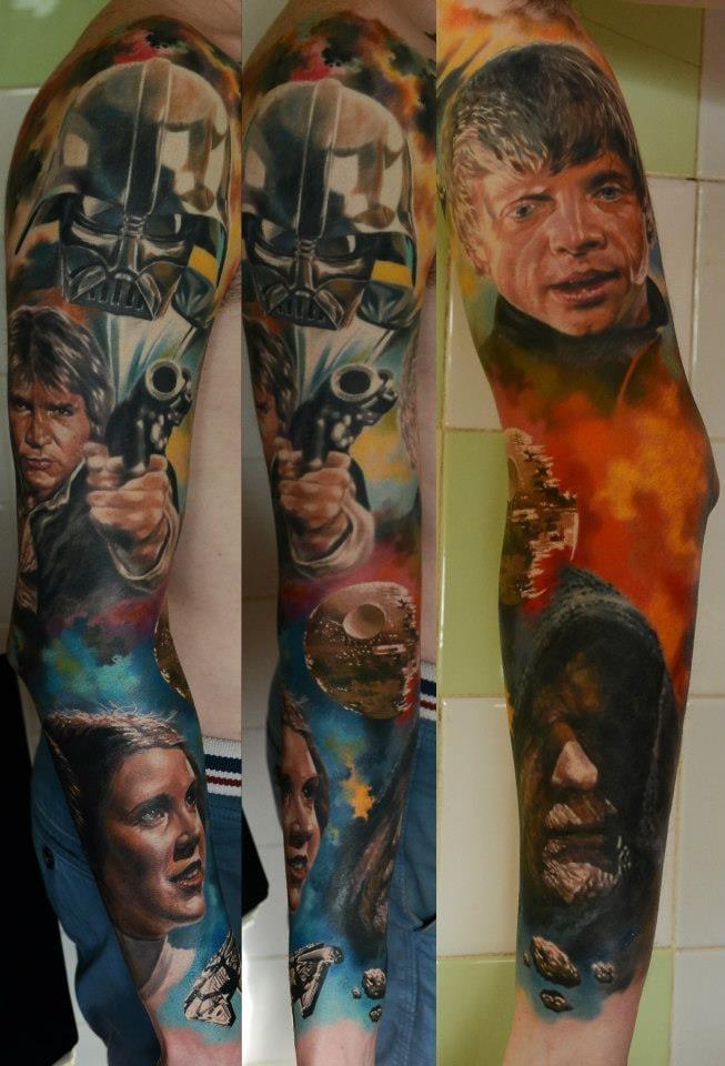 Badass Star Wars sleeve by Den Yakovlev #movie #movietattoo #starwars #DenYakovlev
