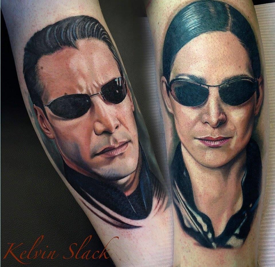 Badass Matrix tattoos by Kelvin Slack #movie #movietattoo #matric #kelvinslack