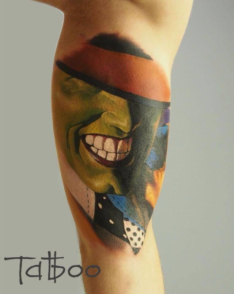 The Mask tattoo by Valentina Ryabova #movie #movietattoo #ValentinaRyabova #themask