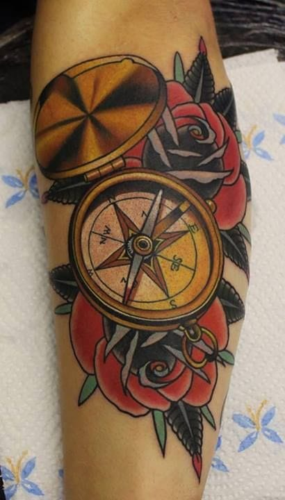 Compass tattoo. Artist unknown #compasstattoo #compass