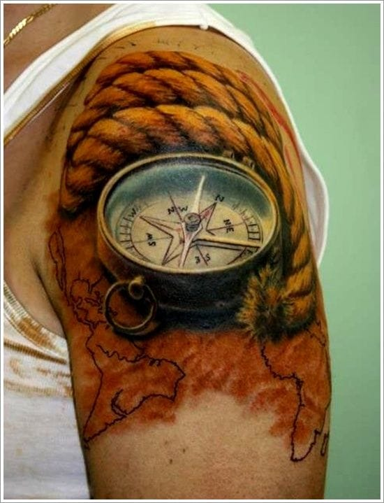 Compass tattoo. Artist unknown #compass #magnetic #direction