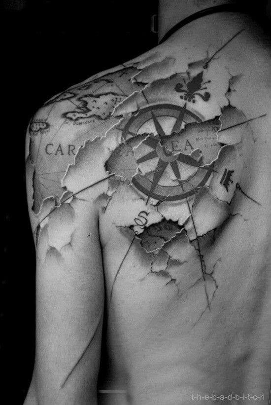 A compass tattoo on top of a map is a common tattoo design layout. One might opt for the traditional layout... or something different. Unknown artist #compass #map #direction