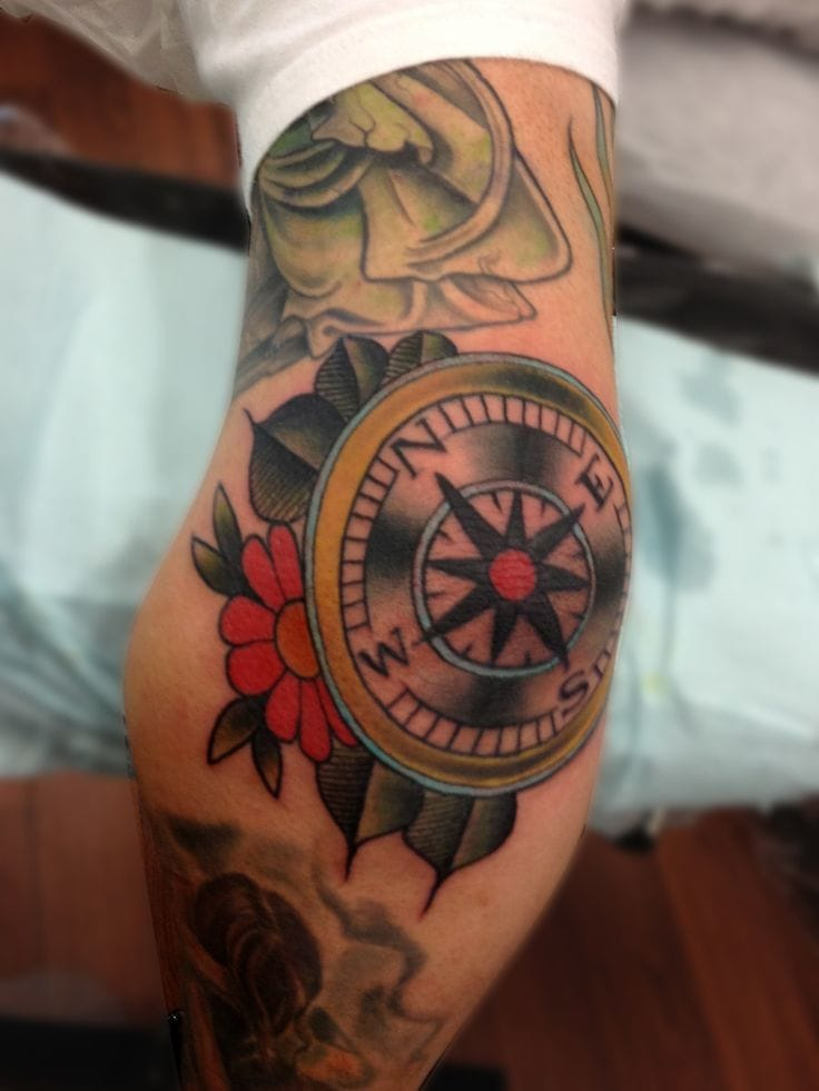 Colorful elbow compass tattoo #compass #elbow #colorful