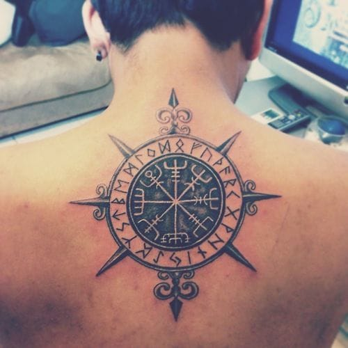 Compass tattoo, artist unknown. #compass #directions #map