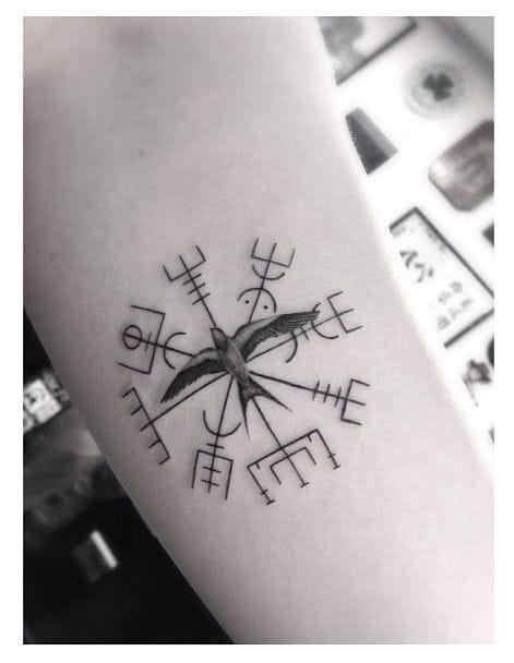 Scandinavian viking compass tattoo,artist unknown #vegvisir #compasstattoo #compass #scandinavian #viking