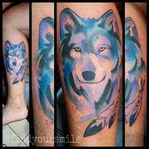 Watercolor Wolf Tattoo by Russell Van Schaick #watercolorwolf #wolf #watercolor #RussellVanSchaick
