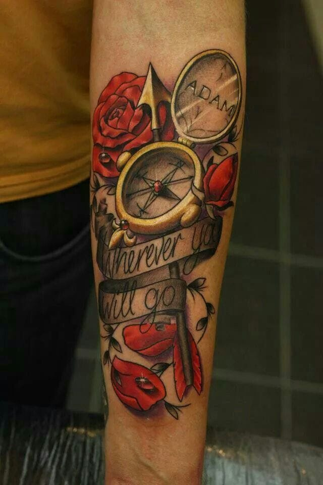 Colorful compass tattoo #compass #colorful
