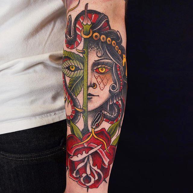 Lady head tattoo by @herbxauerbach #ladyhead #traditional #lady #girlhead #rose
