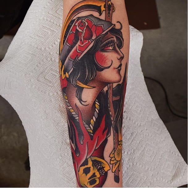 Lady head tattoo by @herbxauerbach #ladyhead #traditional #lady #girlhead #skull #rose