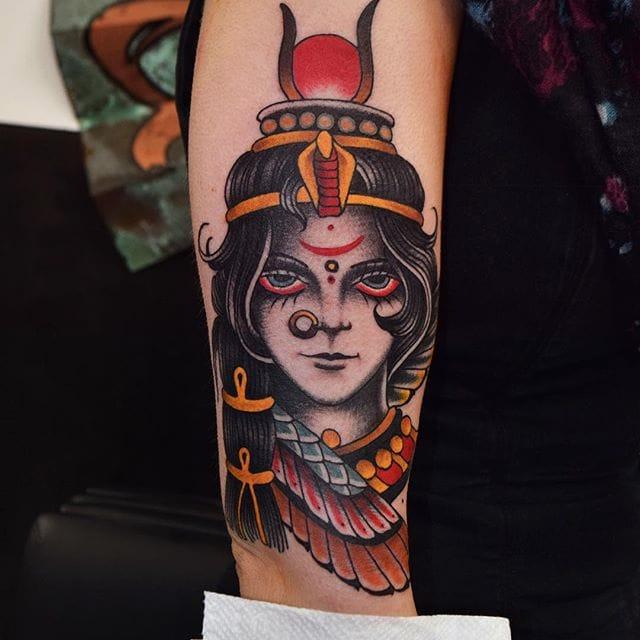 Lady head tattoo by @herbxauerbach #ladyhead #traditional #lady #girlhead