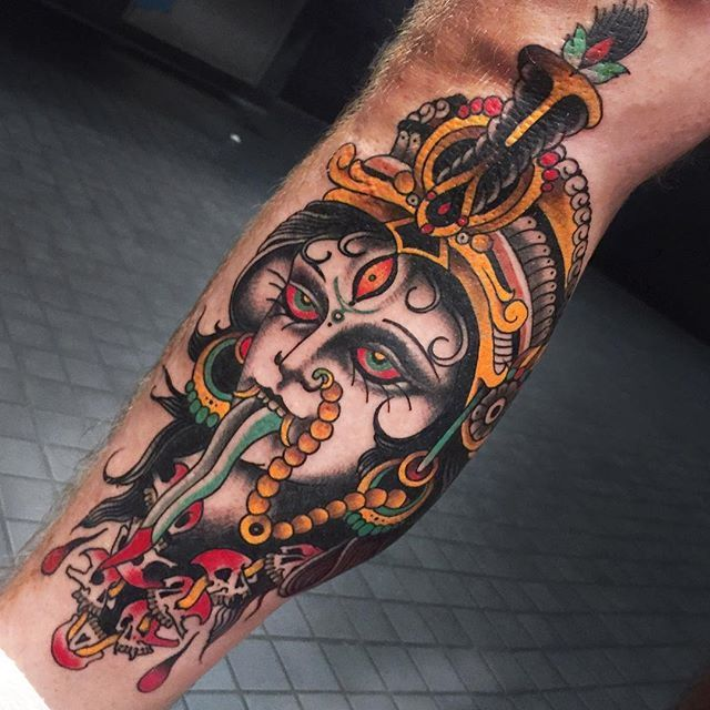Tattoo by Herb Auerbach via @herbxauerbach #ladyhead #traditional #lady #girlhead