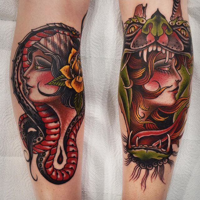 Lady head tattoo by @herbxauerbach #ladyhead #traditional #lady #girlhead #snake #flower
