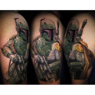 Star Wars tattoo via @crojasart #starwars #mayfourth #portrait #bobafett #CarlosRojas