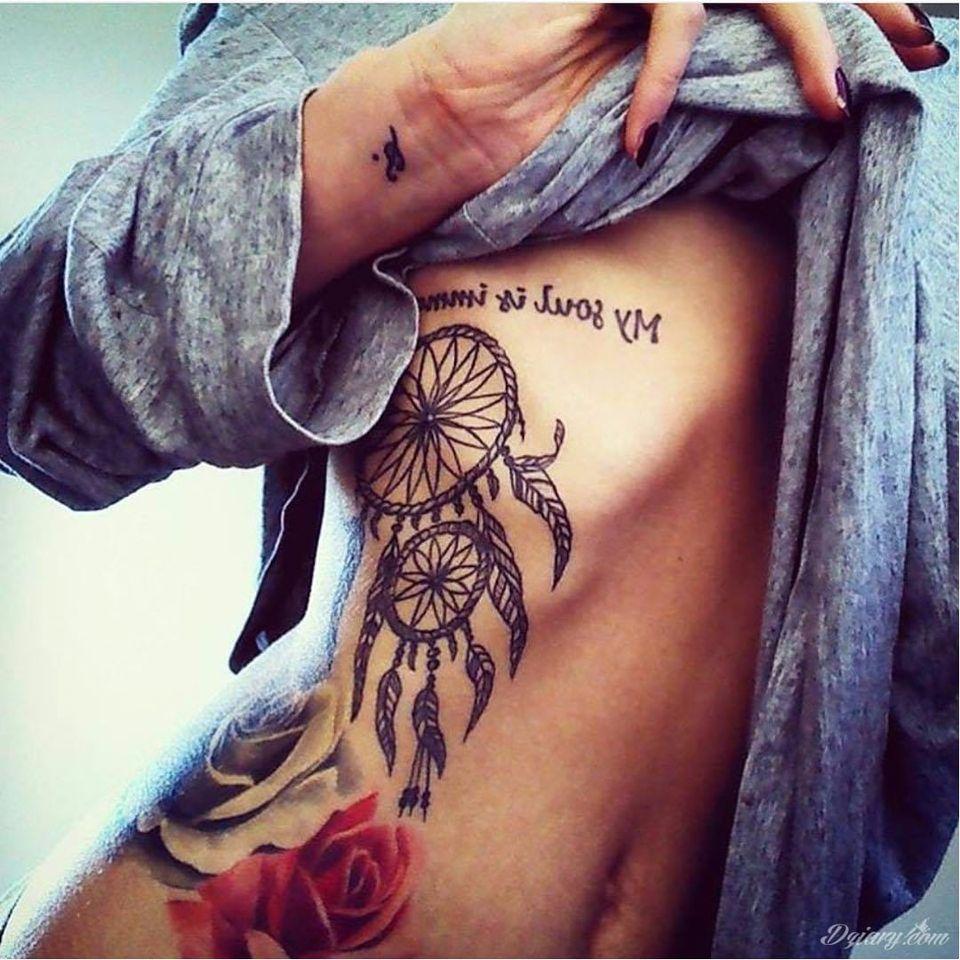 Dreamcatcher tattoo via Instagram @tattoofet #dreamcatcher #tribal #nativeamerican #feathers #blackwork #side