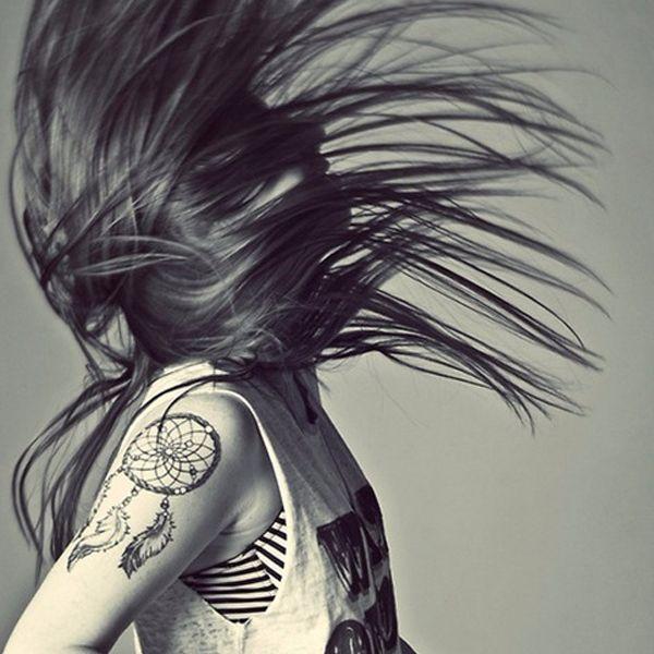 Dreamcatcher design on the shoulder via Pinterest #dreamcatcher #tribal #nativeamerican #feathers #blackwork #shoulder