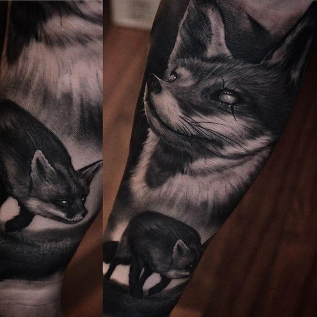 Black and grey fox half sleeve by Ben Thomas. #realism #blackandgrey #blackandgreyrealism #BenThomas #TheBlackMark #fox
