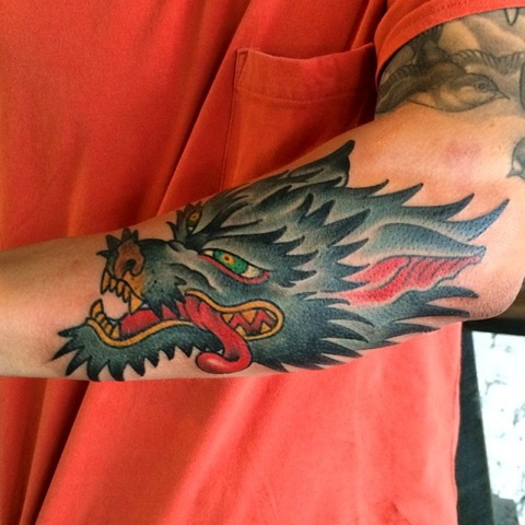 Another fun one #wolf #wolfhead #tattoo #amijames #lovehatesocialclub