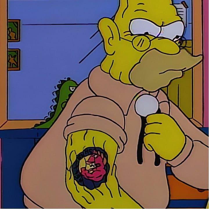 Grandpa Simpson and his trusty Hellfish tattoo!! #Hellfish #Simpsons #SimpsonsTattoos #Cartoon #cartooninspired