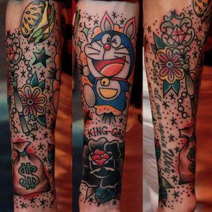 Doraemon tattoo by ZMR Tattoo. #doraemon #neko #cat #anime