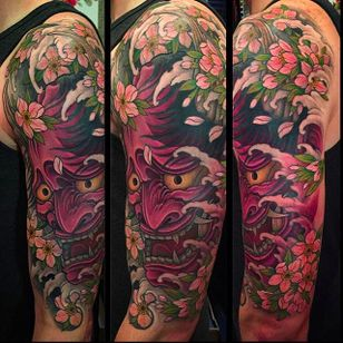 Awesome Hannya mask half sleeve tattoo by Chris Crooks. #chriscrooks #hannya #blossoms #japanesestyle #japanese #hannyamask