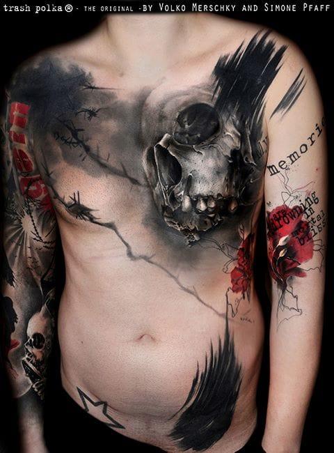 Amazing skull chest tattoo
