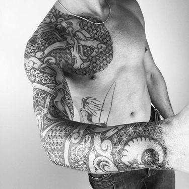 Detailed Geometric Black Tattoos by Inga Hannarr