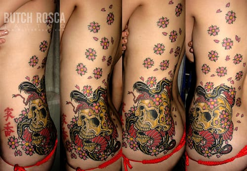 Beautiful snake tattoo by Butch Rosca, Butch Rosca Tattoo. #snake #floral #skull #traditional