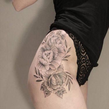Floral Blackwork Tattoos By Julia Mikhaylova