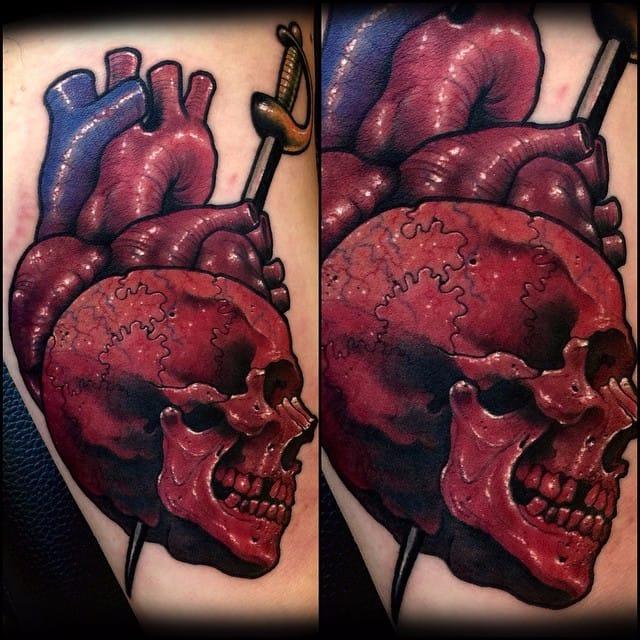 Skull tattoo by Varo. #Varo #skull #southkorean #mashup #alternative #anatomicalheart