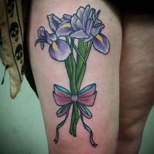 Neo traditional purple iris bouquet by Jen Moore. #neotraditional #iris #flower #bouquet #ribbon #JenMoore #floral