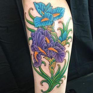 Blue and purple iris piece by Ben Wallenborn. #iris #flower #neotraditional #BenWallenborn