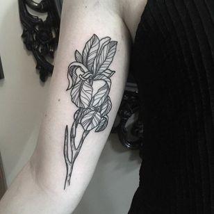 Bold line work iris by Klaudia Holda. #linework #blackwork #flower #iris #KlaudiaHolda
