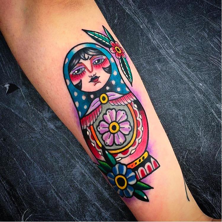 Russian doll tattoo by Saschi McCormack #traditional #color #SaschiMcCormack #russiandoll #matryoshka