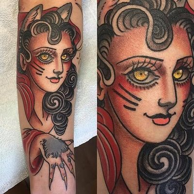 Cat lady tattoo by Lizzie Renaud. #LizzieRenaud #neotraditional #feline #cat #catgirl #catlady #catwoman