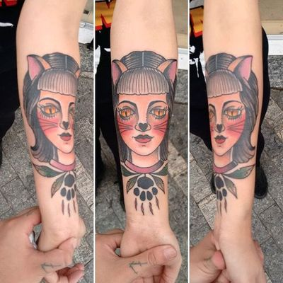 Cat lady tattoo by Rob Nagata. #neotraditional #feline #cat #catgirl #catlady #catwoman